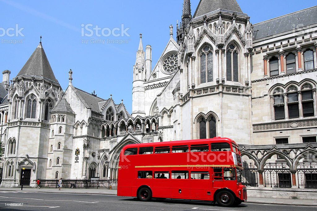 London bus and courthouse stock photo