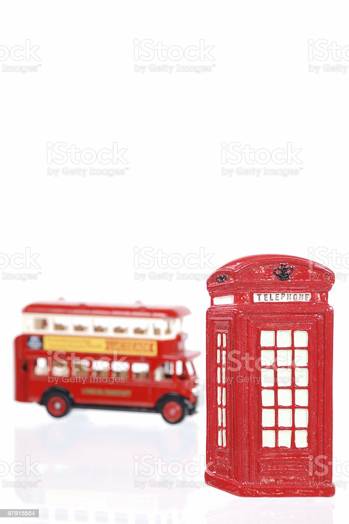 London bus and payphone booth royalty-free stock photo