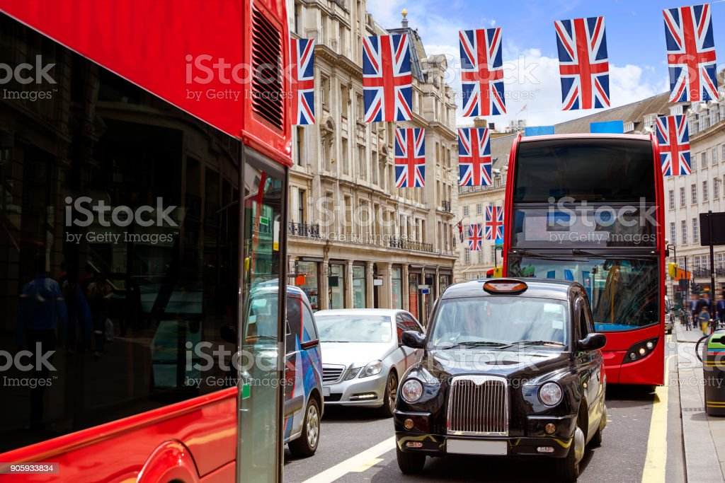 London bus and Taxi Regent Street W1 stock photo