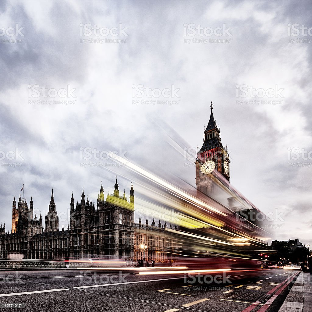 London bus, Houses of Parliament, Big Ben royalty-free stock photo