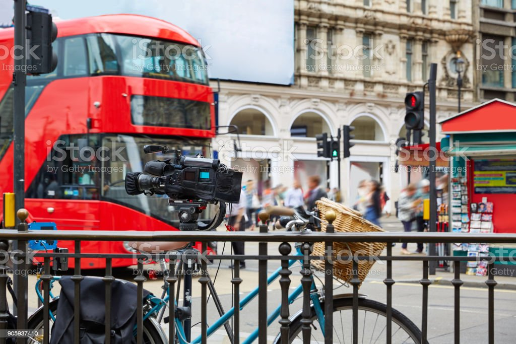London Bus Piccadilly Circus in UK stock photo