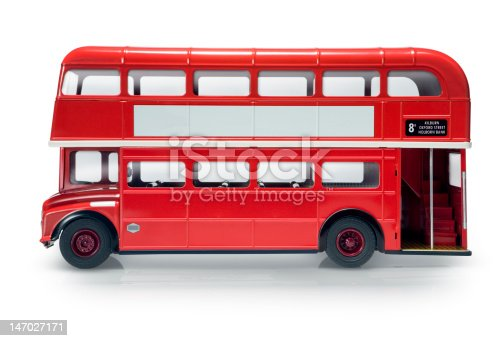 Red London bus isolated on white
