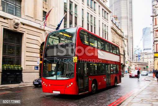 A London bus in the city centre