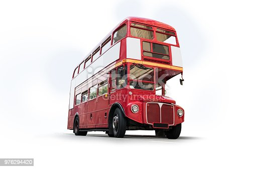 London Old Bus isolated with clipping path. White Background