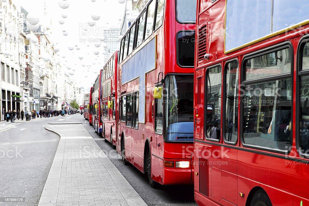 London Bus Traffic Jam stock photo