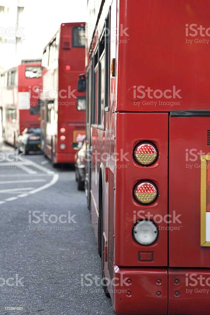 London buses queue royalty-free stock photo