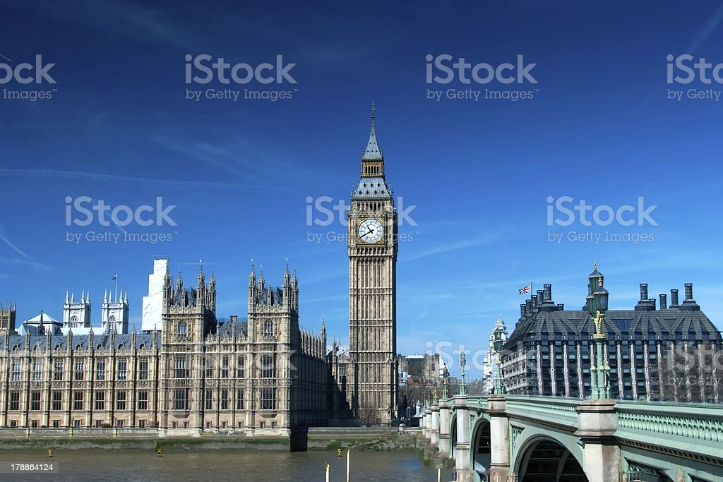 London Buses with Big Ben royalty-free stock photo