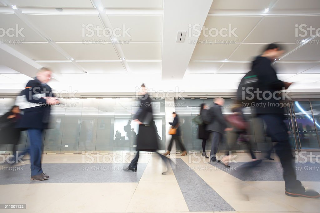 London businessman train tube station in rush hour stock photo