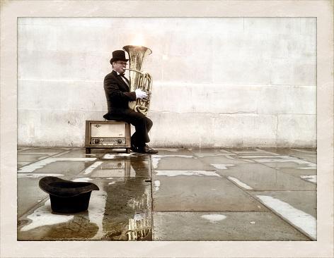 London busker playing tuba