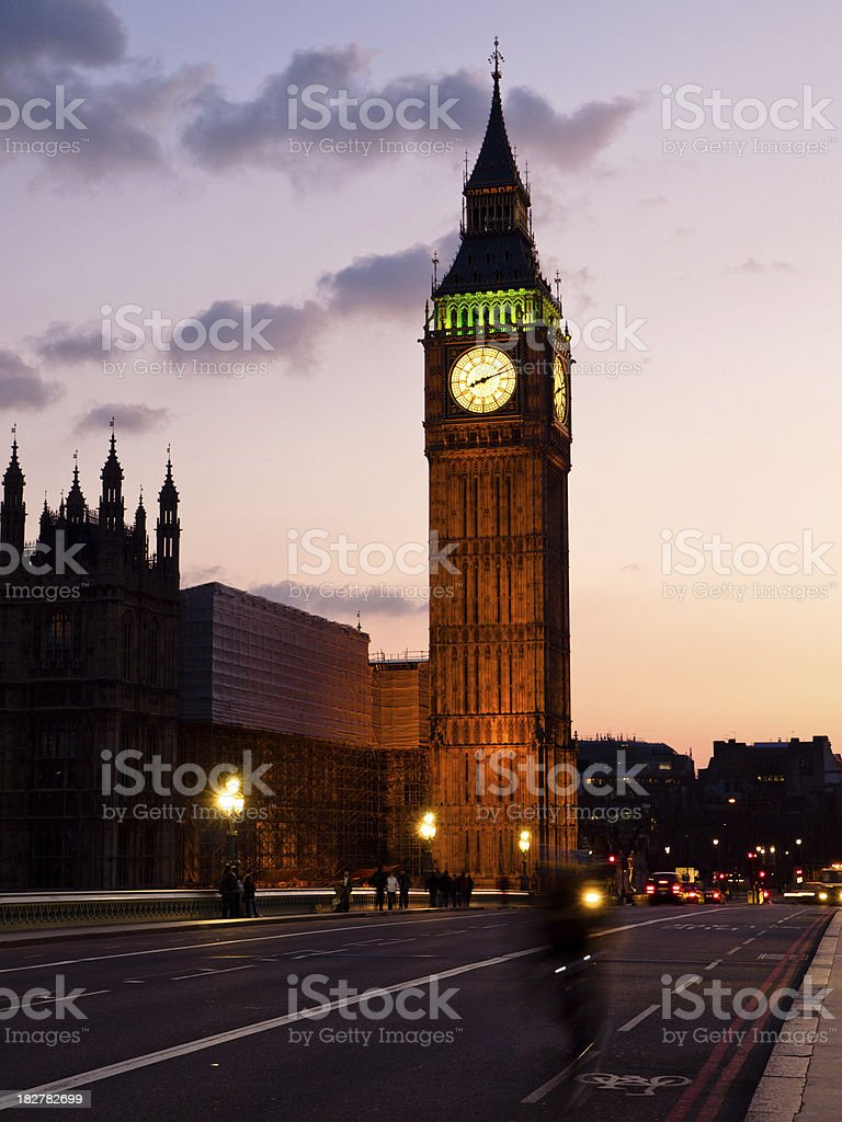 London by Night Big Ben with cyclist in Foreground royalty-free stock photo
