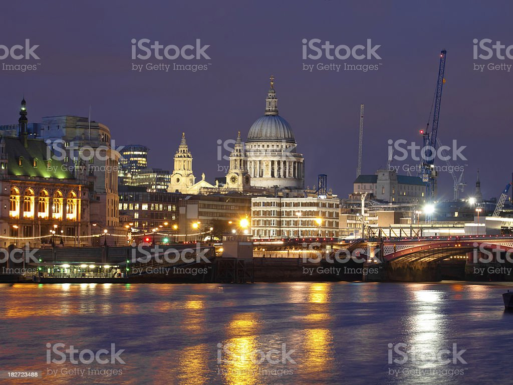 London by Night Big Ben with light trails in Foreground royalty-free stock photo