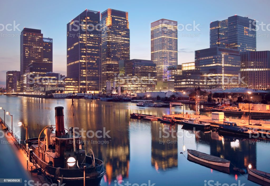 London Canary Warf Banks And River Reflections At Dusk stock photo