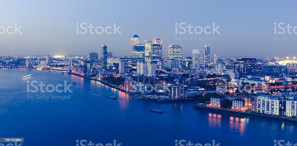 London Canary Wharf at Night stock photo