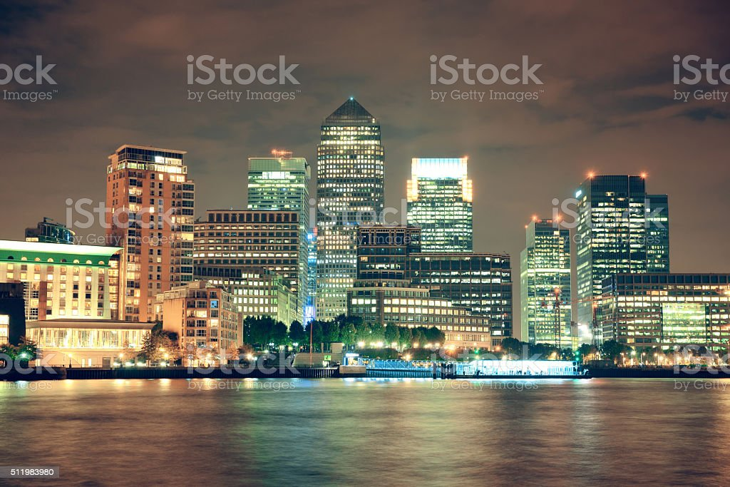 London Canary Wharf at night stock photo
