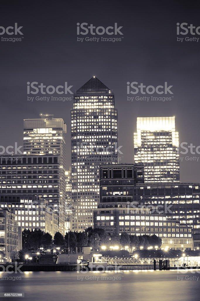 London Canary Wharf at night royalty-free stock photo