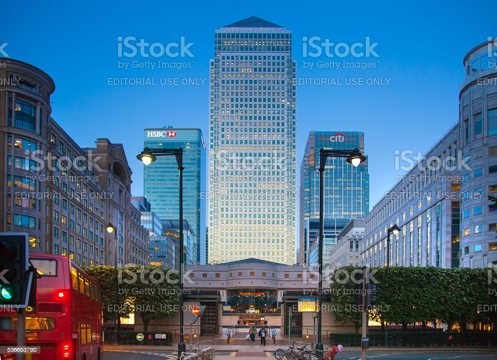 London, Canary Wharf business and banking centre. stock photo