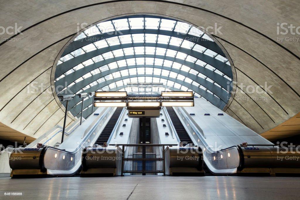London, Canary Wharf, Subway Station Escalators stock photo