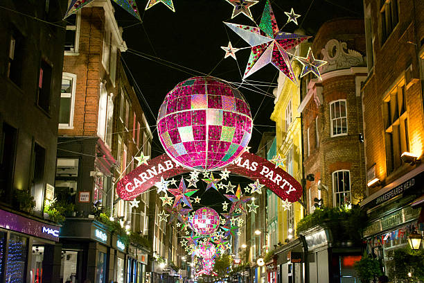 London Carnaby Street Christmas Decorations London, England, United Kingdom, December 3, 2015: Christmas decorations on London's Carnaby Street.  carnaby street stock pictures, royalty-free photos & images