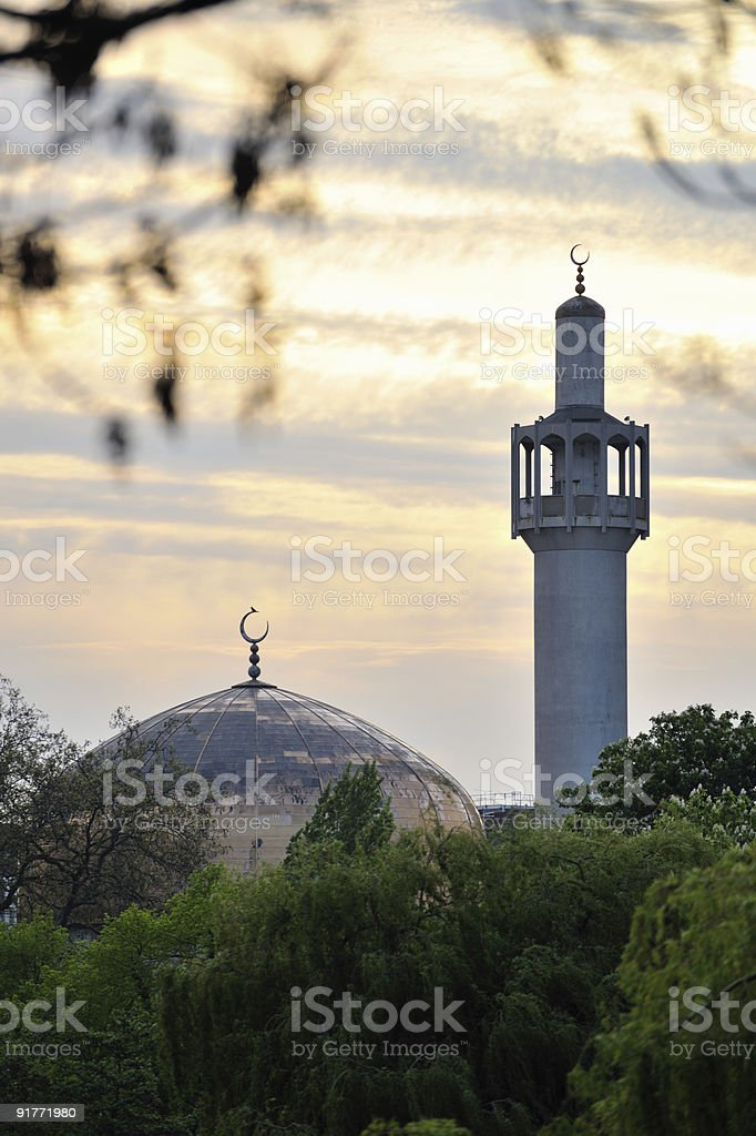 London Central (Regents Park) Mosque, England, UK, at sunset royalty-free stock photo