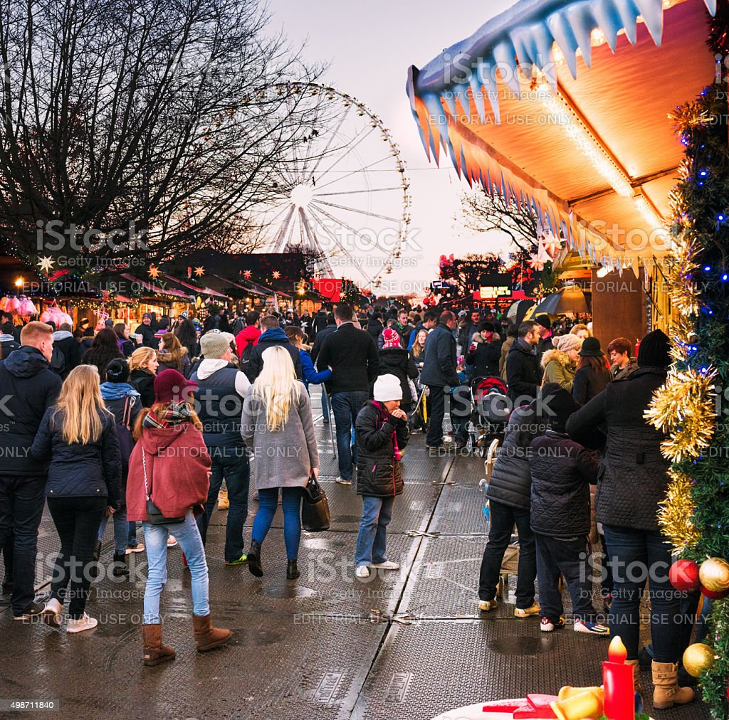 London Christmas Markets in Hyde Park Winter Wonderland stock photo