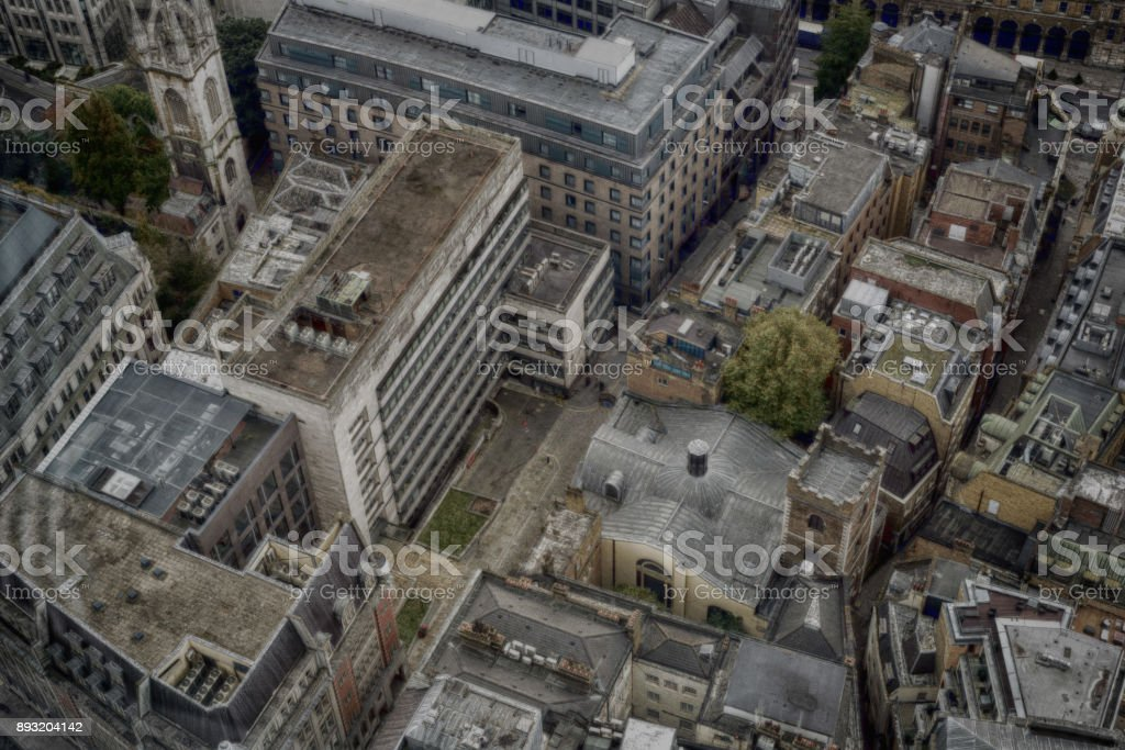 London City Aerial View HDR stock photo