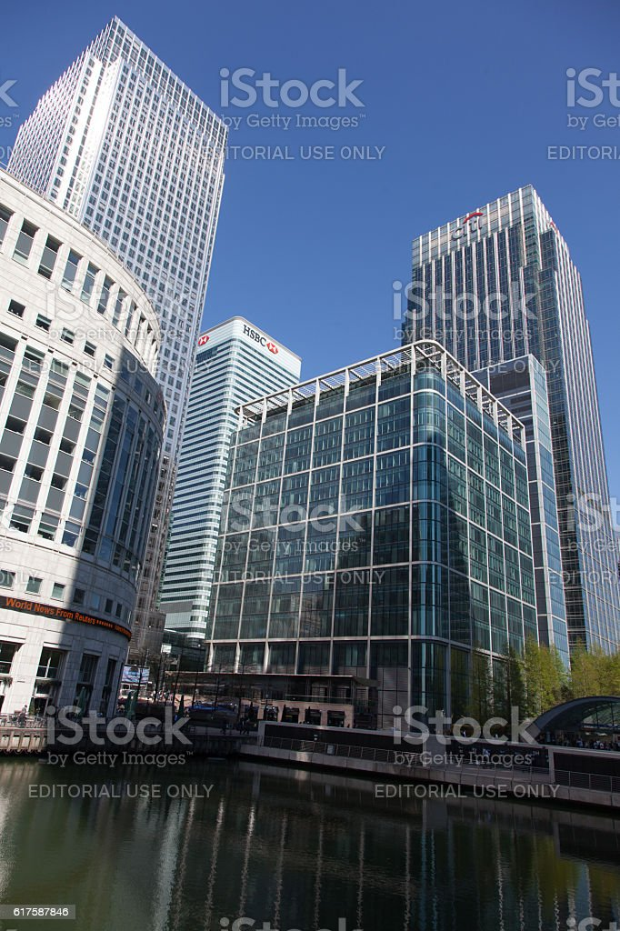 London City blue sky white buildings stock photo