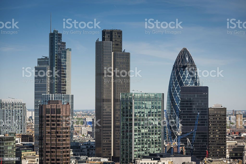London City downtown financial district skyscrapers Square Mile UK royalty-free stock photo