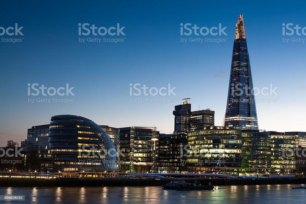 London city hall at night, panoramic riverside view. stock photo