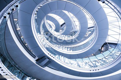 London City Hall spiral staircase from below