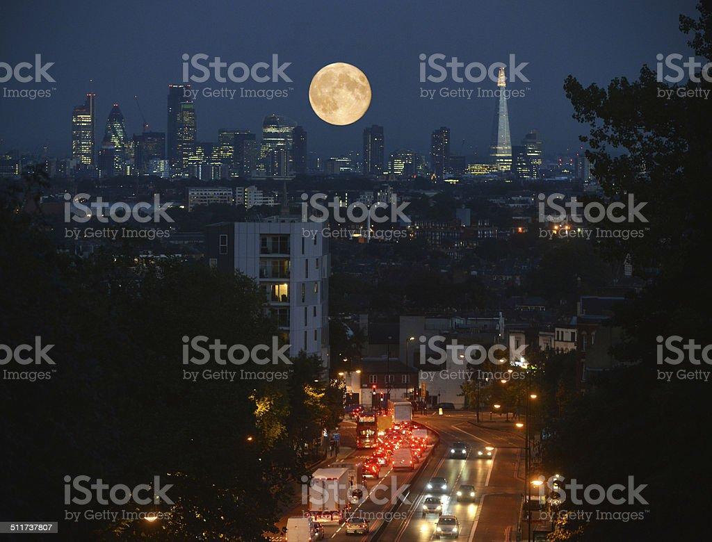London City Harvest Moon stock photo