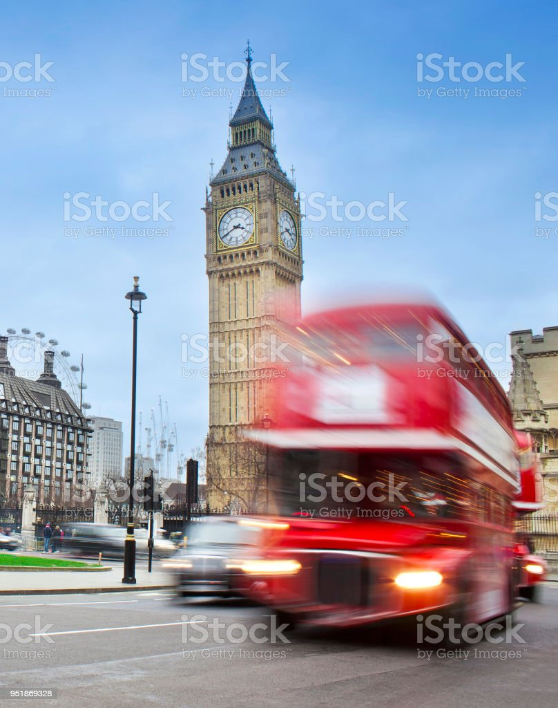 London city scene with red bus and Big Ben stock photo