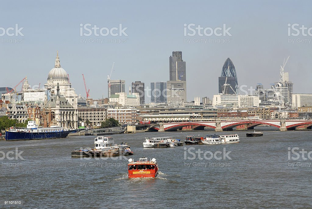 London City Skyline 2006 from thames river royalty-free stock photo