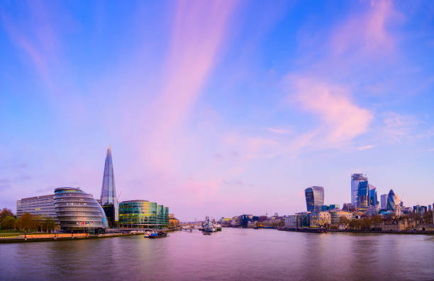 London City Skyline and River Thames at Sunset, UK stock photo