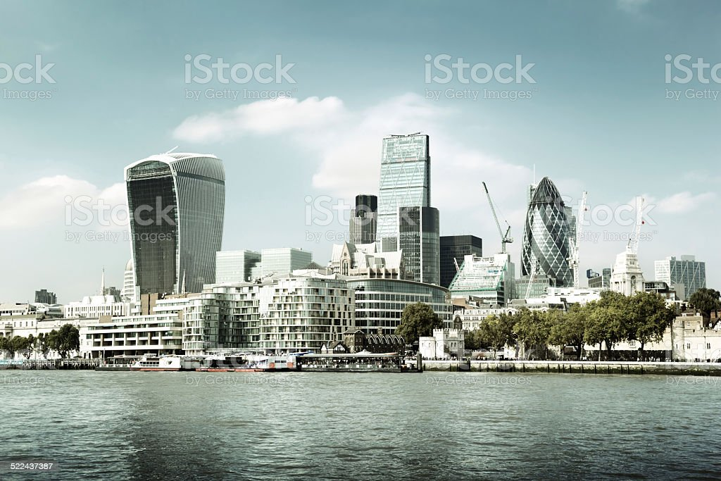 London city skyline from the River Thames stock photo