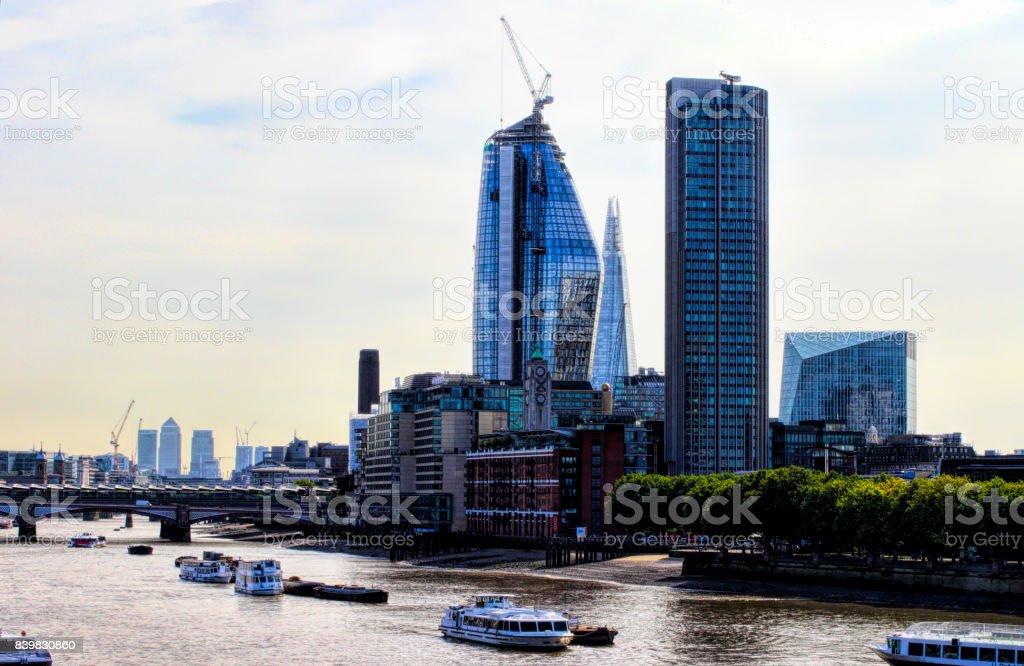 London city skyline from Waterloo Bridge 2017 HDR stock photo