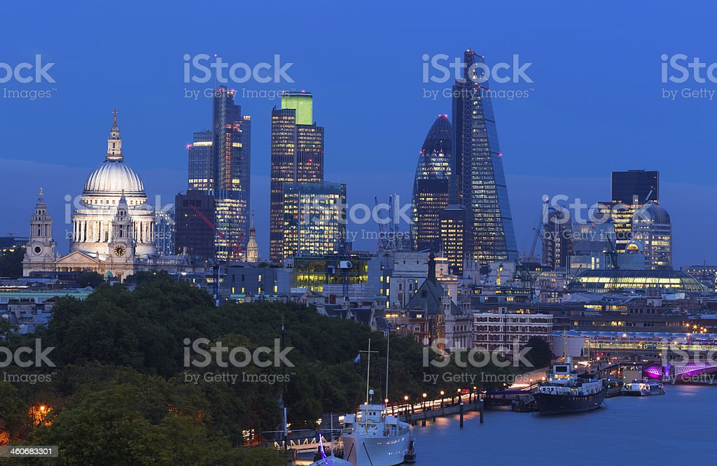 London City Skyline Night View of St Paul's River Thames stock photo