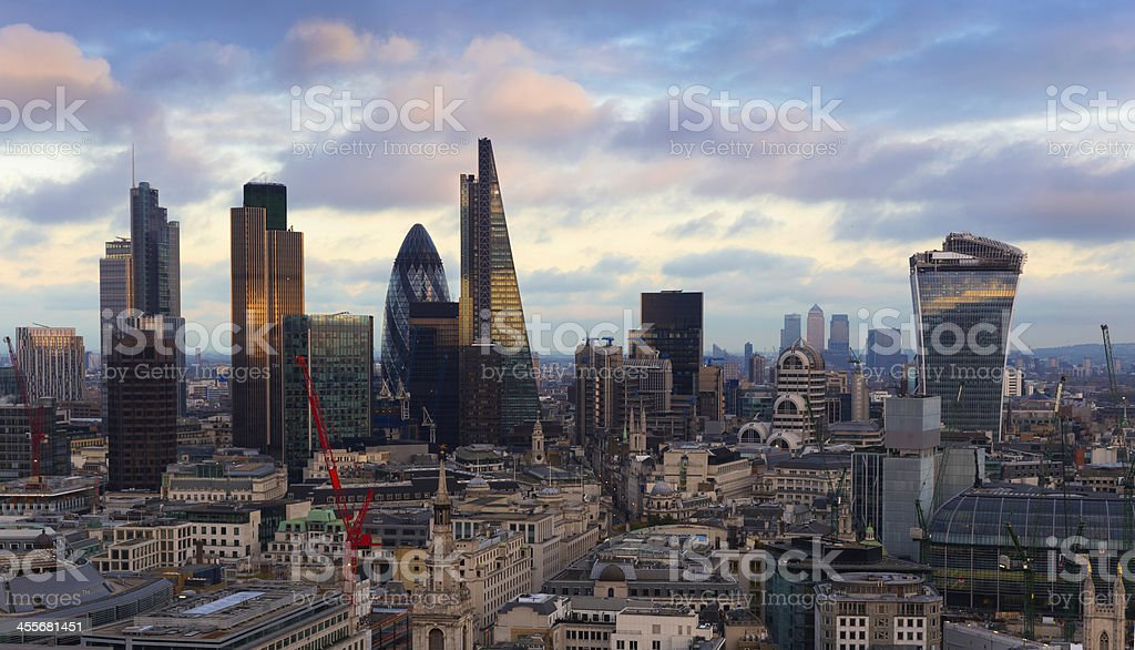 London City Skyline View England stock photo