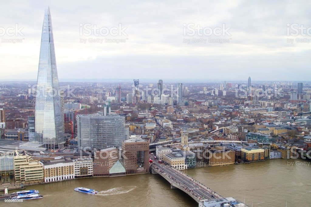 London city Uk, aerial view of Southwark area including the Shard building stock photo