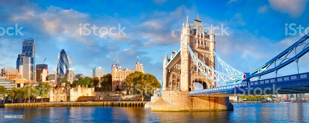 London city with the Tower bridge and the river Thames stock photo