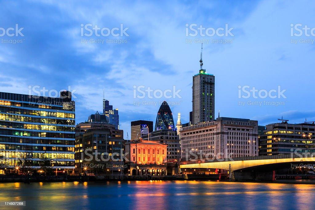 London Cityscape and Millenium Bridge at Sunset, United Kingdom royalty-free stock photo