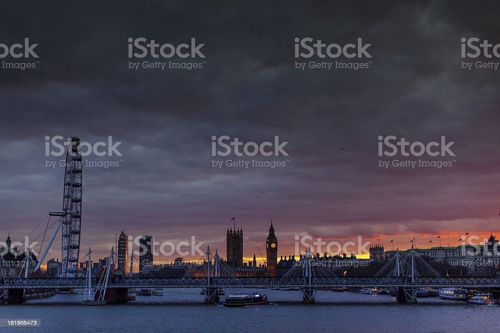London Cityscape and River Thames stock photo