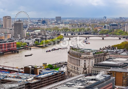 London cityscape and Thames river from St. Paul's Cathedral top, UK