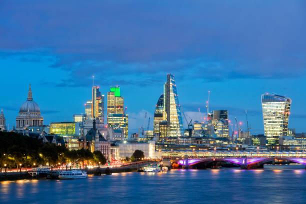 London Cityscape at Dusk, United Kingdom stock photo