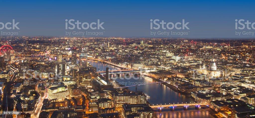 London cityscape at night, United Kingdom stock photo