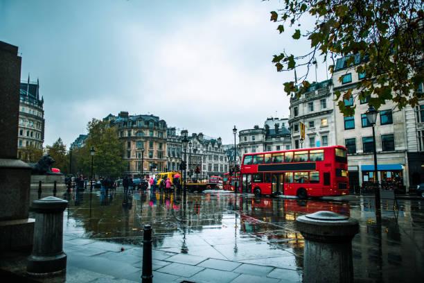 London cityscape during rainy day in England, UK stock photo