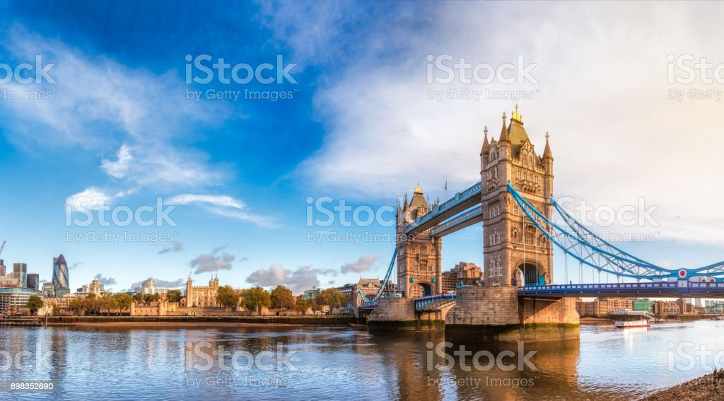 London cityscape panorama with River Thames Tower Bridge and Tower of London in the morning light stock photo