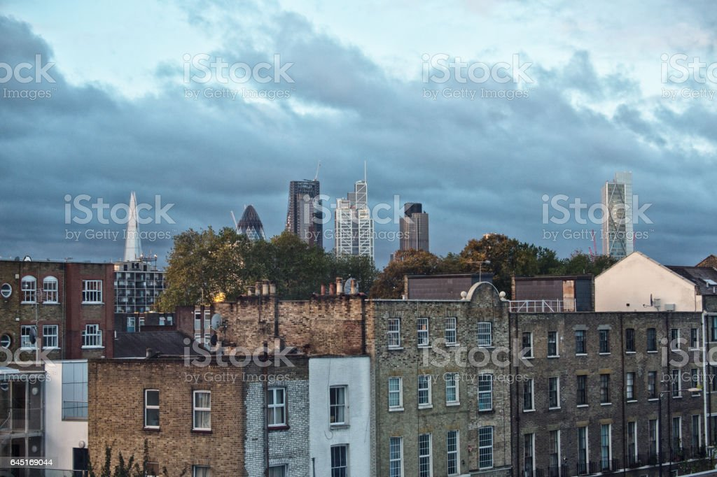 London cityscape skyline sunrise after the catastrofic London storm stock photo
