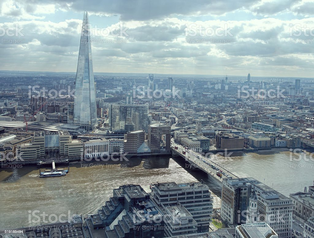 London Cityscape Skyline View. Thames Looking South, Shard, London Bridge. stock photo
