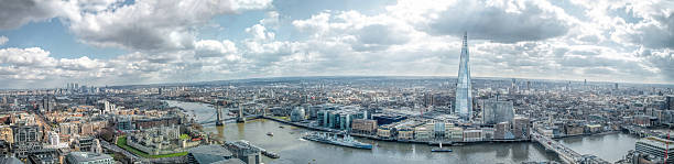 london cityscape skyline wide panorama. famous landmarks - shard london bridge stockfoto's en -beelden