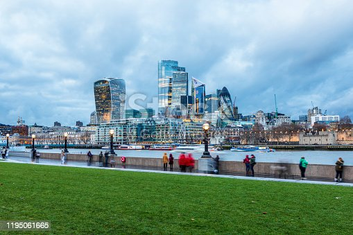 London city's financial district skyline during blue hour